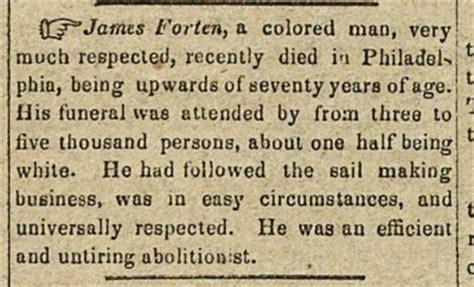 James Forten newspaper clipping