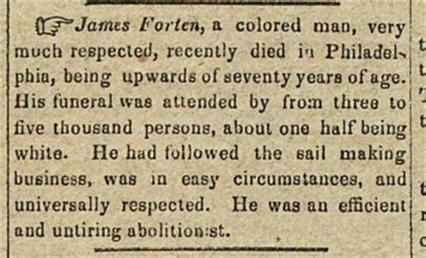 James Forten newspaper clipping